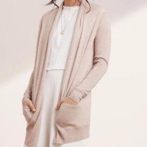 Aritzia Wilfred tan silk cashmere long cardigan